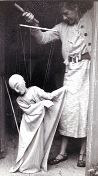 Olive Blackham with Puppet from Japanese Noh Play