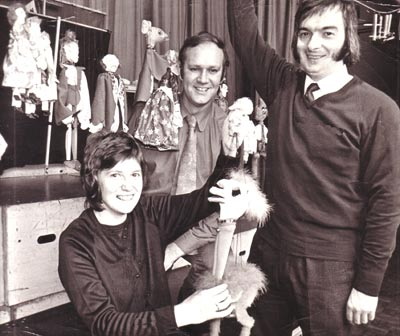 Brian Green with Trevor & Margaret Worrall - Backstage Walsall Puppet Theatre - 1973