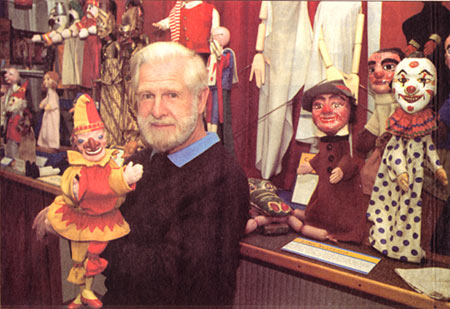 Douglas Hayward at the Original Abbots Bromley Puppet Museum